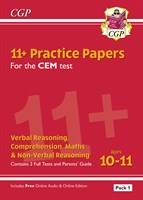 11+ CEM Practice Papers: Ages 10-11 - Pack 1 (with Parents' Guide & Online Edition)